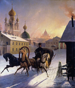 Troika on St. Petersburg Street 19th Century Carl von Hampeln (1808-1880 Russian)